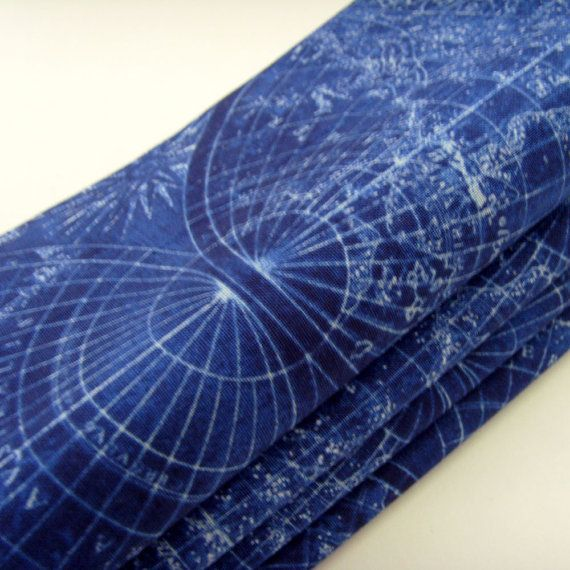 Planetary Map Napkins / White Planet Map / Blue Sailing Ships / Global Exploration / Set of 4 / Nautical Table Decor / Gift Under 35