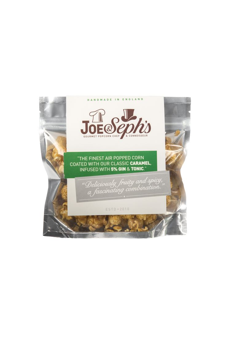 Joe & Seph's Gin & Tonic-popcorn är krispiga lyxiga popcorn med lätt syrlighet och enbärseftersmak. Perfekt picknicksnacks till en god öl? Läs mer på: http://beriksson.net/vara-varumarken/joe-sephs-gourmet-popcorn  #popcorn #gourmet #Joeandsephs #Beriksson #gin&tonic