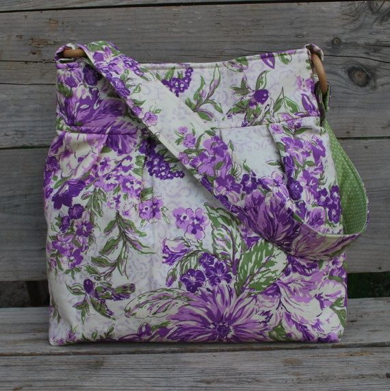Purple Floral Purse Fabric purse Green Polka by Butterflysisters