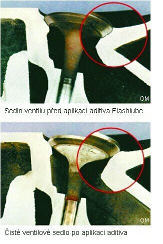 Ventilové sedlo po očištění aditivem Flashlube