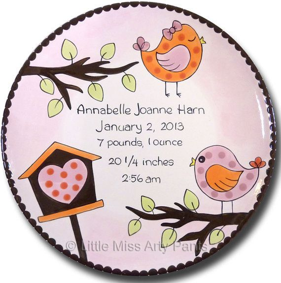 This personalized and hand painted 11 ceramic plate will make a special Birth Announcement/New Baby Gift. All personalized plates are created just for you, per order. A black wood plate stand ($7.00) or a brass plate hanger ($4.00) is available for displaying your plate.  PERSONALIZATION OPTIONS: Please include the personalization info in the Message to Seller box when you check out. Please include the following:  1. Name, Birthdate, Weight, Height, Time of Birth.  2. You may also add a ...