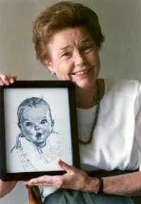 Ann Cook -The Gerber Baby.  Baby Ann at 4 months old....Drawn and submitted by neighbor Dorothy Hope Smith to the Gerber Company in 1927 .