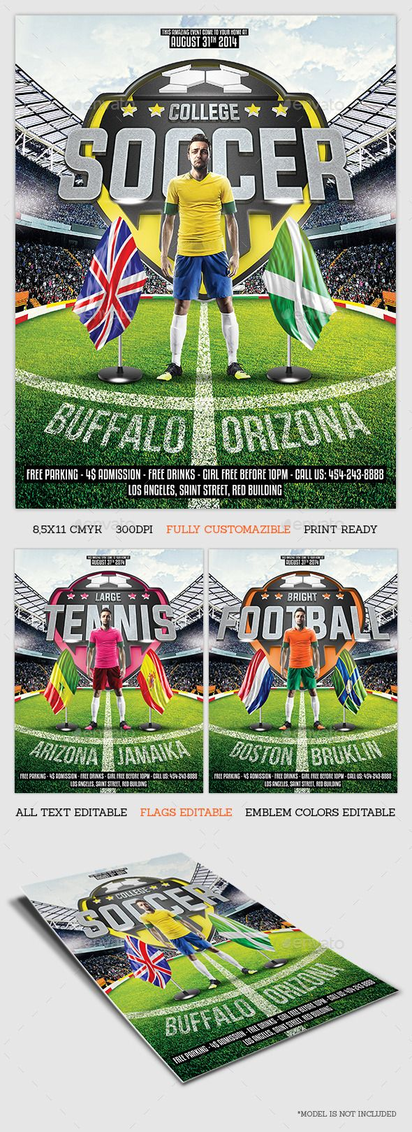 8 5x11 poster design - Sport Game Flyer Template By Becreative Sport Game Flyer Template8 5x11 Inches Size