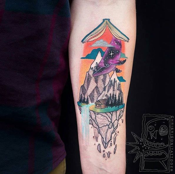 Surreal Book Tattoo Design by Chris Rigoni. Hanging Open book with things coming down out it.