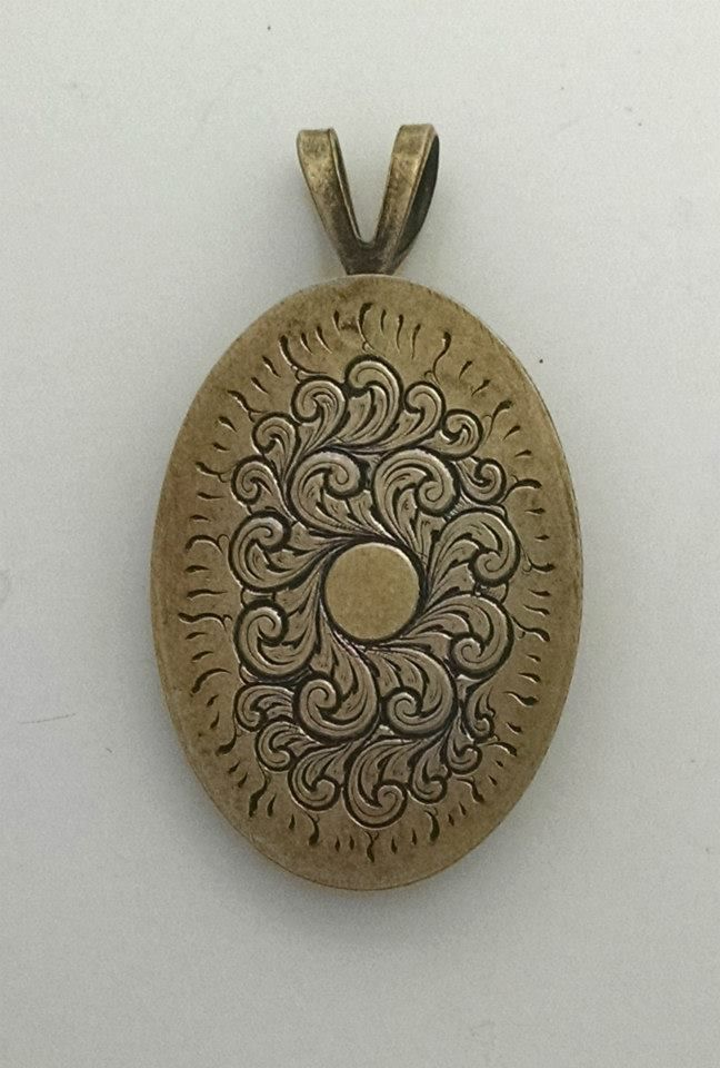 Fine English scroll engraved on brass pendant by James Ehlers https://www.facebook.com/ehlersengraving