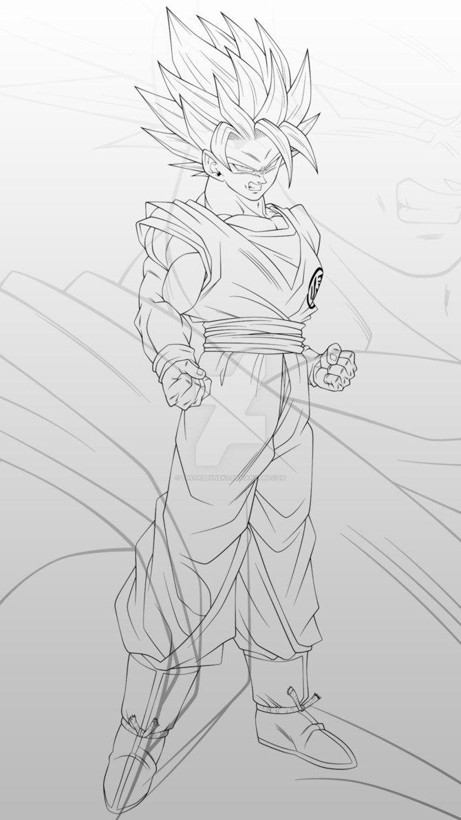 Goku Super Saiyan 2 Lineart By Thetabbyneko Dragon Ball