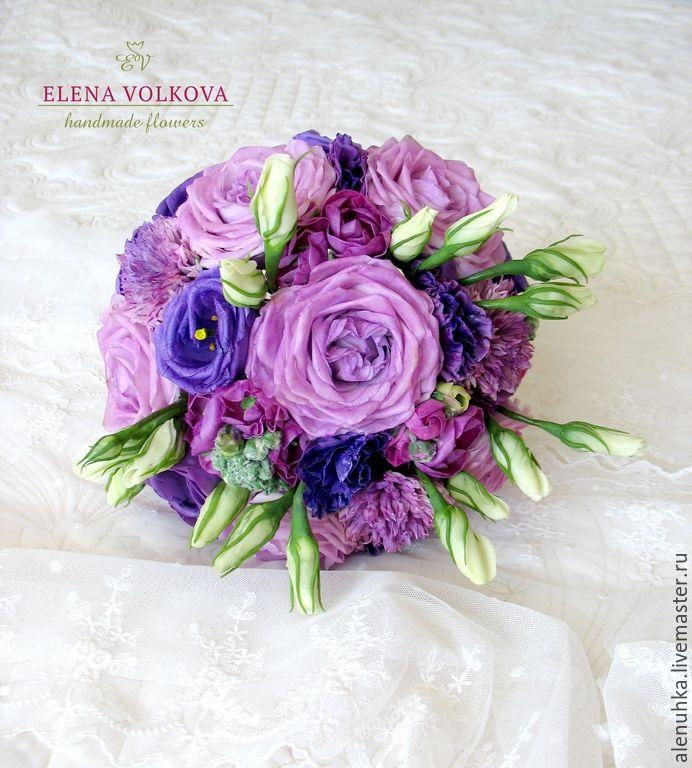 """Купить Букет с эустомами """"Счастливый брак"""" - цветы из полимерной глины, цветы ручной работы"""