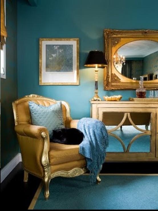 Wohnzimmer-blau-gold-40. glänzend goldene streifen als ...