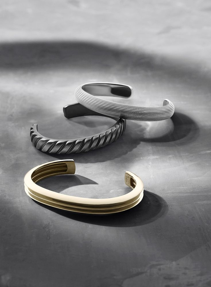 Sleek cuff bracelets for men.