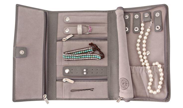 Genuine Saffiano Leather Travel Jewelry Organizer