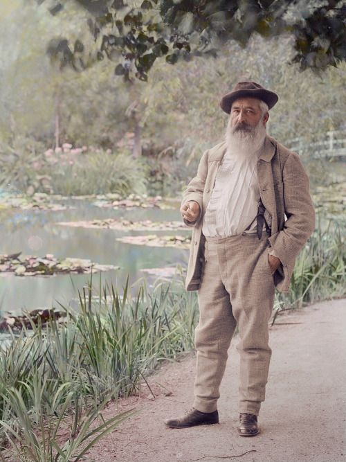 Claude Monet in his garden at Giverny, summer 1905.  Photographer: Jacques-Ernest Bulloz, colorized by painters-in-color.
