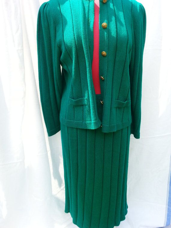 Emerald Green Sweater Set Cardigan and Skirt by GrandmasGypsyWagon