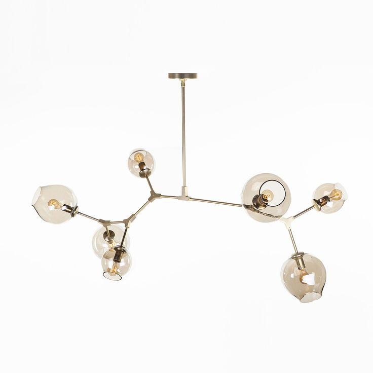 Modern Seven Globe Branching Ceiling Lamp - Gold