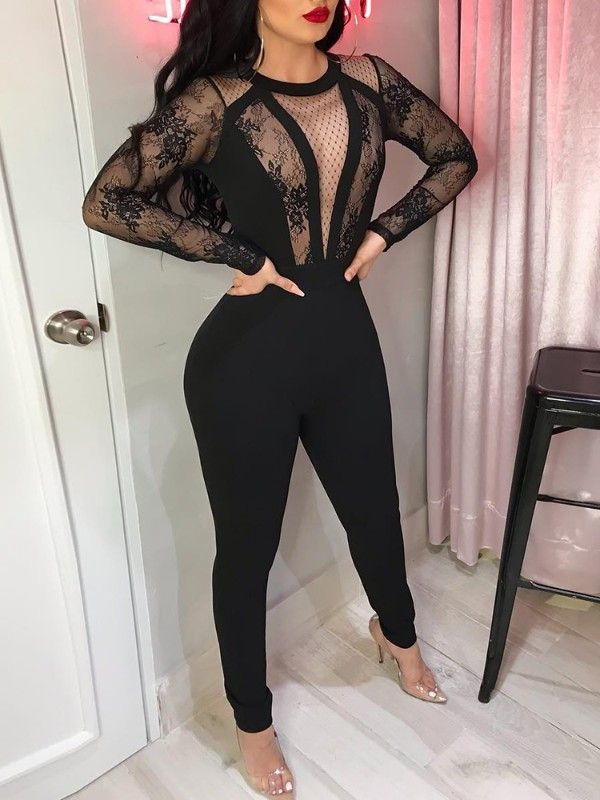 d8620745e72 Lace Crochet Mesh Patchwork See Through Jumpsuit