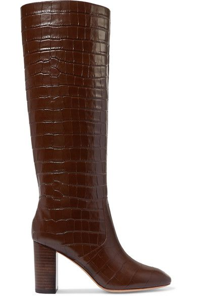 Loeffler Randall – Goldy croc-effect leather knee boots