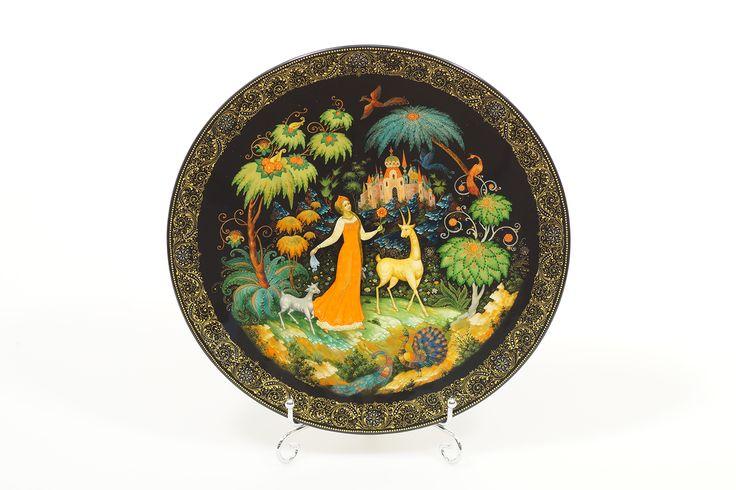 """Лаковая тарелка """"Аленький цветочек"""", автор Белова О."""