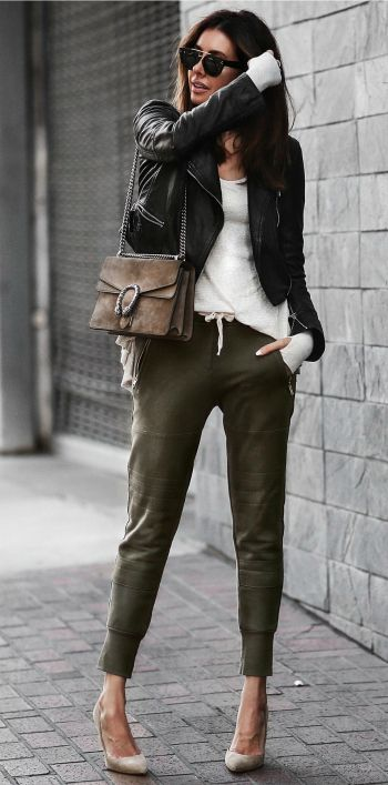 Erica Hoida + comfortable yet totally chic + khaki joggers + heels + leather jacket + smarter overall style + casualness of this look + definitely recommend it for 2017!  Jacket: Marissa Webb, Shirt: Free People, Joggers: Sincerely Jules, Shoes: Gianvito Rossi.