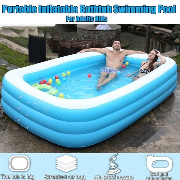 110 130 150 180 Cm Adults Kids Pool Bathing Tub Outdoor Indoor Blue Thick Inflatable Swimming Pool Wish Inflatable Swimming Pool Kid Pool Swimming Pools