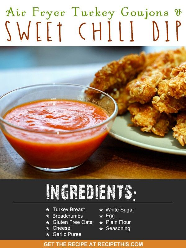 Air Fryer Recipes | Air Fryer turkey goujons and sweet chilli dip recipe from RecipeThis.com