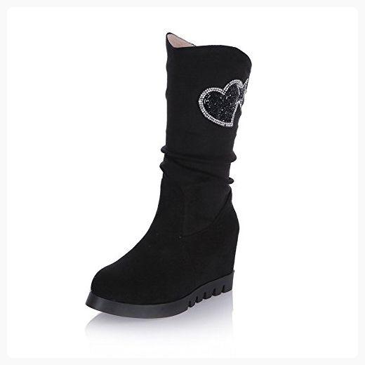 Womens Metal Ornament Tassels Heighten Inside Gray Imitated Leather Boots - 7.5 B(M) US