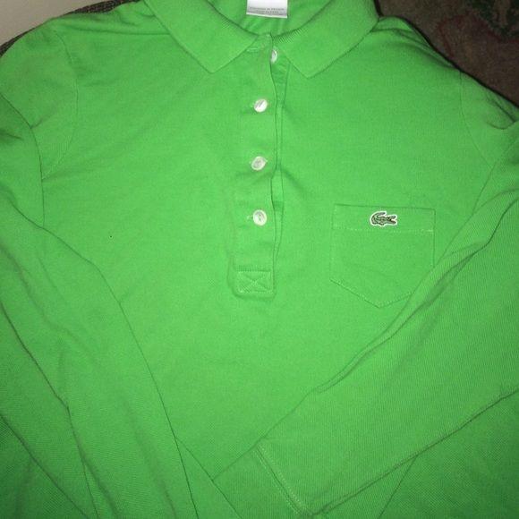 Lacoste women's shirt Long sleeve green women's Lacoste shirt-never worn (size 40 so a L) Lacoste Tops