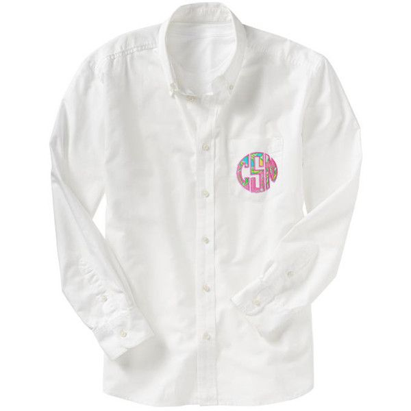 Monogrammed Lilly Pulitzer Oversized Bridesmaid Oxford Shirt ($40) ❤ liked on Polyvore featuring tops, light yellow, women's clothing, fitted shirt, cotton shirts, monogrammed shirts, oxford shirt et dress shirts