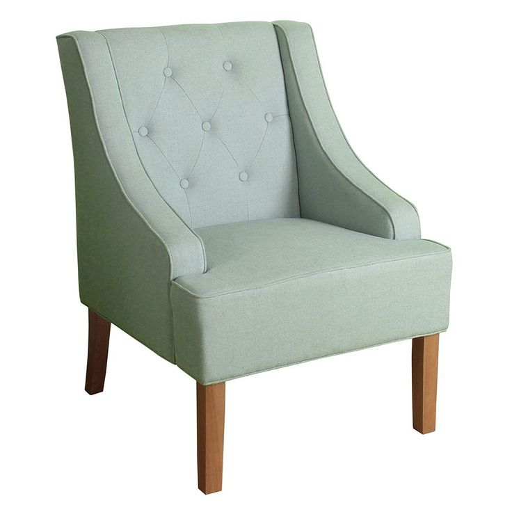 Best Homepop Kate Tufted Swoop Arm Accent Chair Blue Wooden 400 x 300