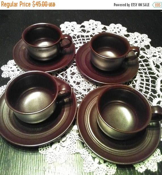 Summer sale 20% 4 Sets of Coffee Cups and Saucers. Vintage