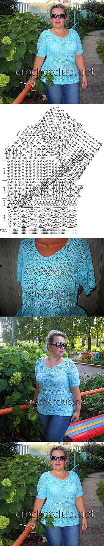 Бирюзовая футболка крючком - Вязание Крючком. Блог Настика