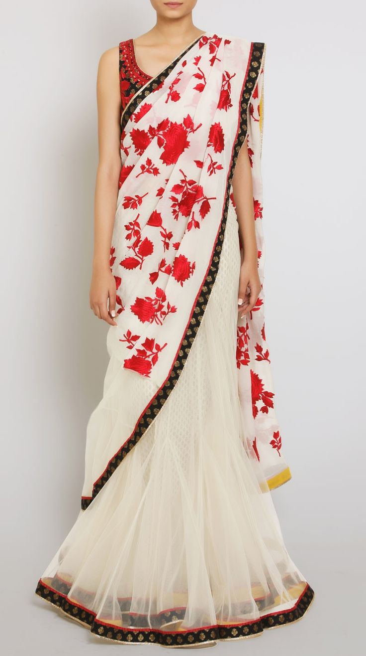 White Embroidered Sari with Stitched Blouse