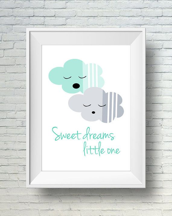 Mint Green And Gray Baby Sweet Dreams Sign, Nursery Wall Art Print, Printable Baby Nursery Art, Childrens Art Print, Kids Room Decor