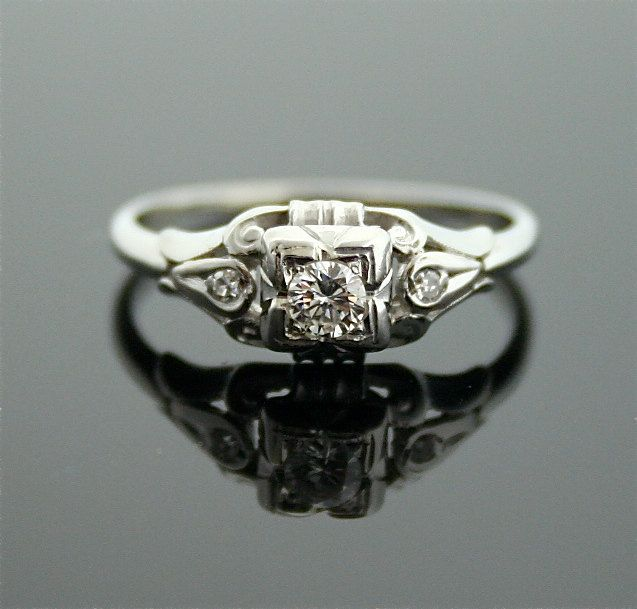 1930s Engagement Ring - White Gold and Diamond Antique ...