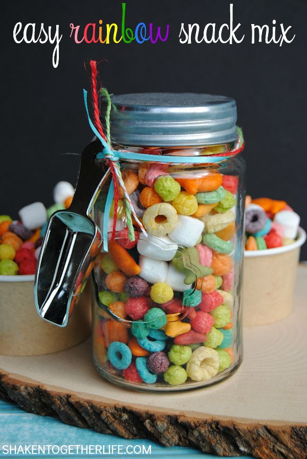 Make a fun snack mix with assorted rainbow colored tasty treats! This easy colorful Rainbow Snack Mix is perfect for St. Patricks Day or a rainbow themed party!