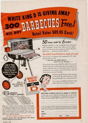 1955 White King D Detergent Big Boy Barbecue Grill Ad