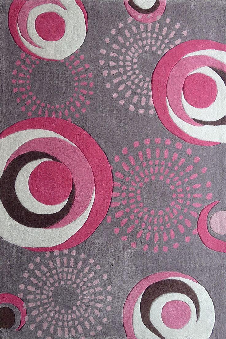 4ft x 6 ft Grey Kids Bedroom Area Rug with Pink