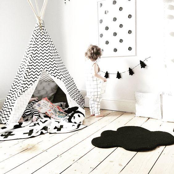 Reading corner • cloud, rug , Swiss cross blanket , teepee , nobodinoz , monochrome, kids room, children's bedroom , modern, trees , books , grid romper || @beingmummyxo: