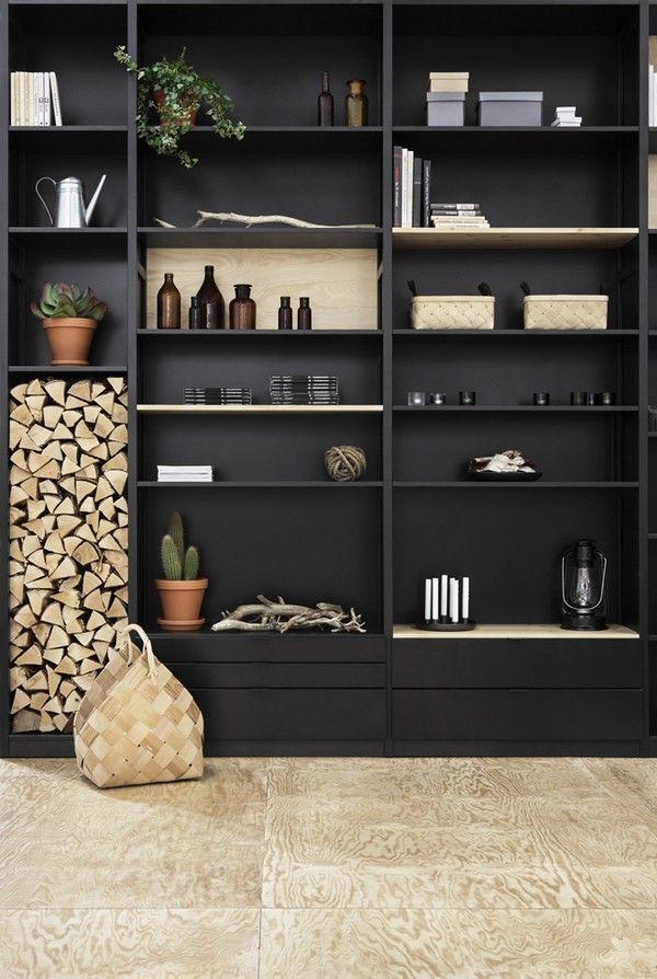 Estante para sala de estar moderna e detalhes com o estilo rústico. | Bookcase for living room and modern details with the rustic style.