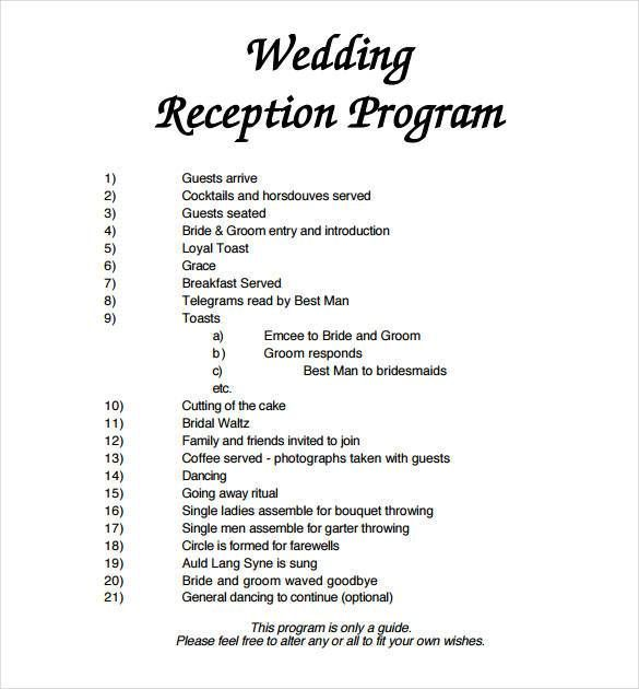 Image Result For Christian Wedding Reception Template Wedding Reception Program Wedding Program Template Free Wedding Programs Template