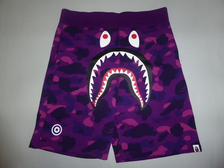 10752 bape color camo shark sweat shorts purple L in Clothing, Shoes & Accessories, Men's Clothing, Shorts | eBay