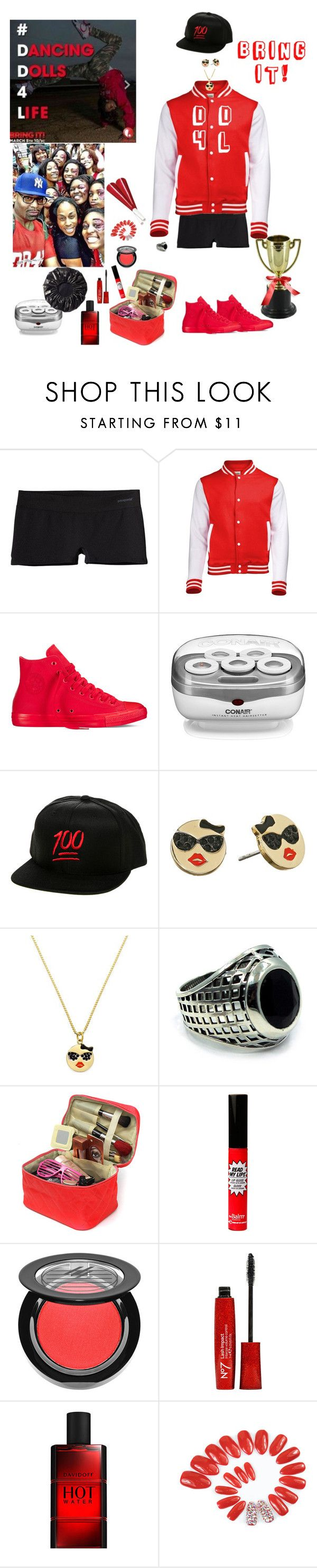 """DD4L"" by blackmagicmomma ❤ liked on Polyvore featuring Patagonia, Converse, Conair, KLP, Kate Spade, Han Cholo, TheBalm and Ardency Inn"