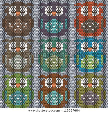 Knitted sweater with colorful owls. Seamless pattern - stock vector