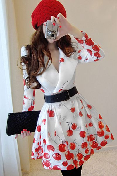 Elegant White Double Breasted Turndown Collar Long Sleeve Red Cherry Trench Coat on Luulla