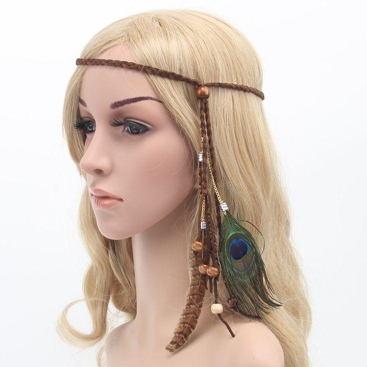 新しいファッションフェスティバルフェザーカチューシャヒッピー頭飾りヘアアクセサリーレトロ自由奔放に生きる編み込みヘアフープ孔雀の羽の頭飾り