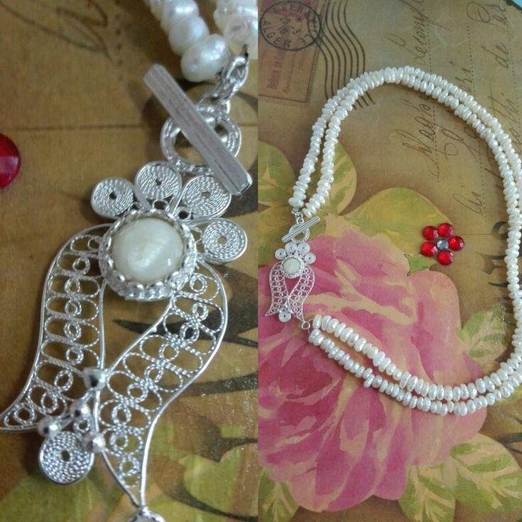 Necllace, filigree, silver, natural pearls, handmadde... https://www.facebook.com/AGift-390048184451793/