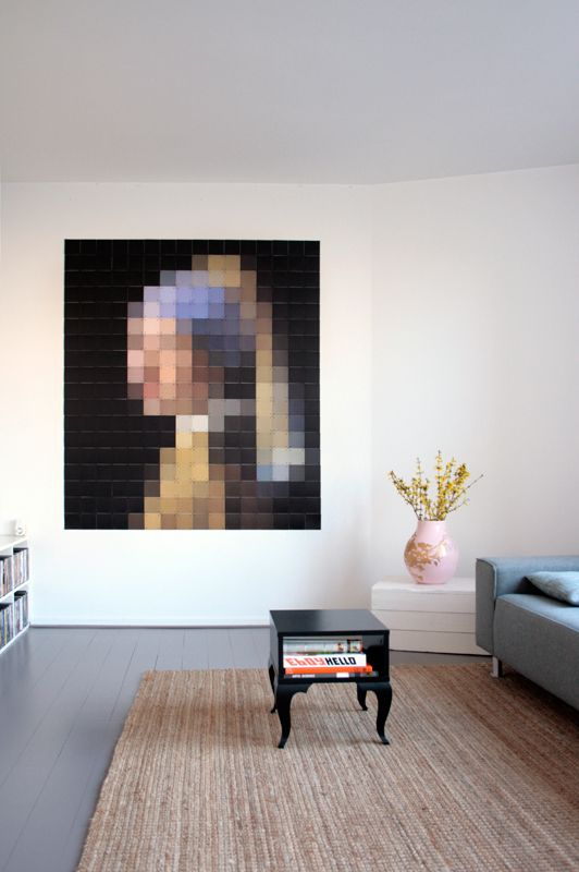 ixxi special: Girl with a pearl earring (Johannes Vermeer). Coloured pixel cards. #wallart #interior $180.00