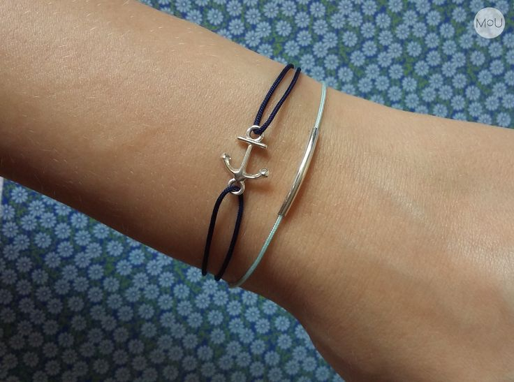 Twine dark blue and minty bracelets with anchor and twiggy pendants by MOU