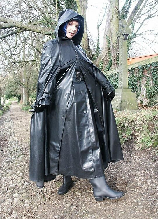 Black Rubber Cape Coat