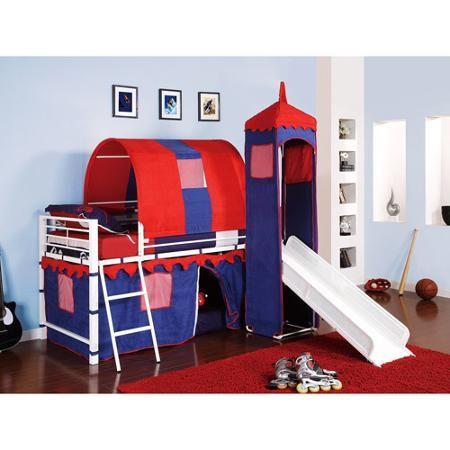 Castle Tent Loft Bed w/ Slide & Under Bed Storage, Blue - Walmart.com