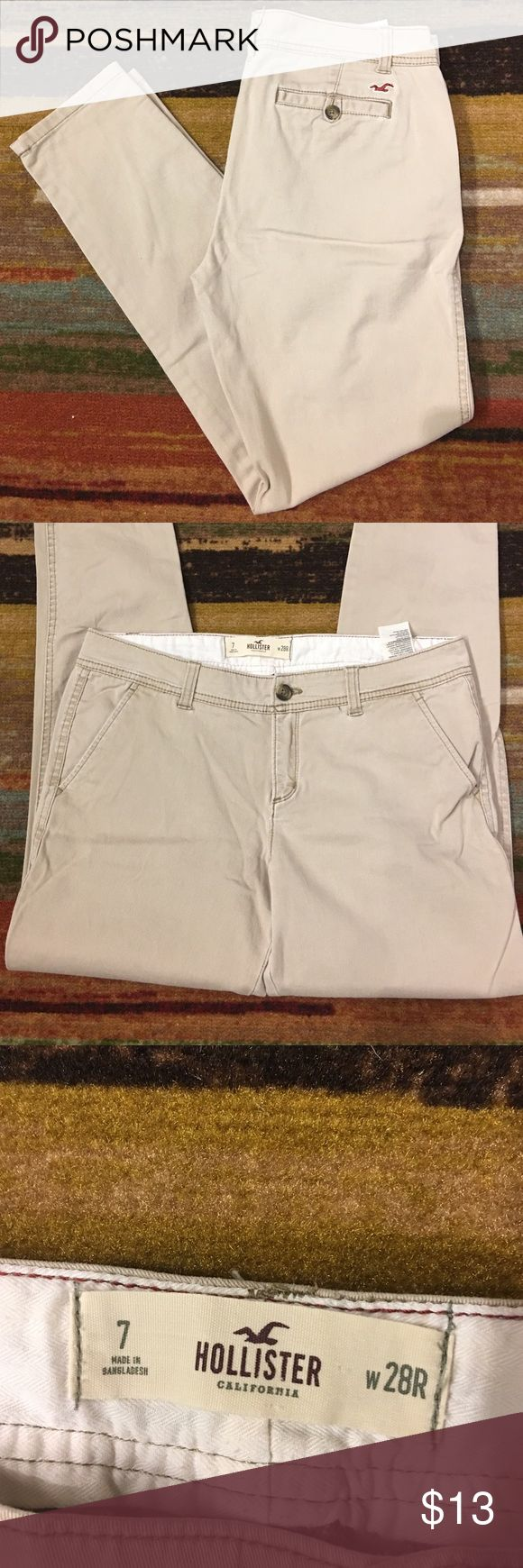 Hollister pants Khaki hollister pants.  No stains, rips or holes.  All belt loops attached Hollister Pants Trousers