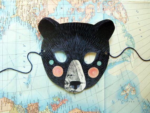 Ours noir papier masque Woodland Forest fête ou faveur par kissmego